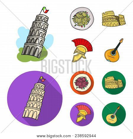 Pisa Tower, Pasta, Coliseum, Legionnaire Helmet.italy Country Set Collection Icons In Cartoon, Flat