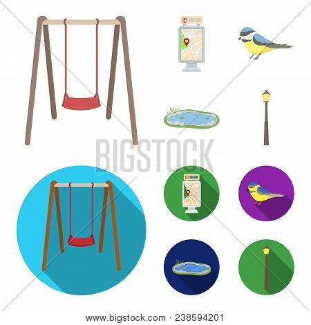 Territory Plan, Bird, Lake, Lighting Pole. Park Set Collection Icons In Cartoon, Flat Style Vector S