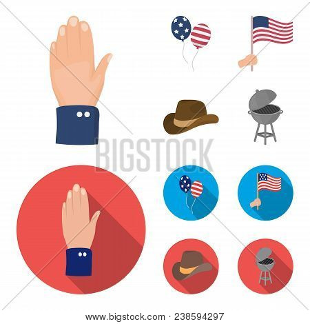 Balloons, National Flag, Cowboy Hat, Palm Hand.patriot Day Set Collection Icons In Cartoon, Flat Sty