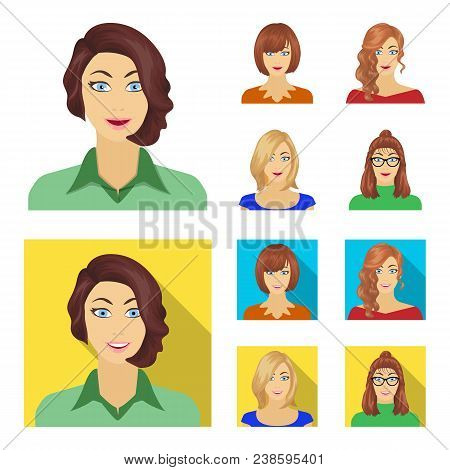 The appearance of a woman with a hairdo, the face of a girl. Face and appearance set collection icons in cartoon, flat style vector symbol stock illustration . poster