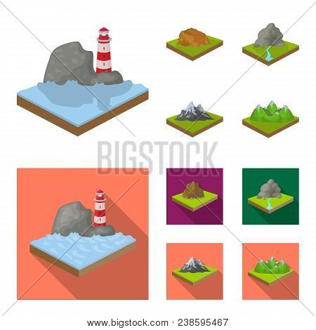 Mountains, Rocks And Landscape. Relief And Mountains Set Collection Icons In Cartoon, Flat Style Iso