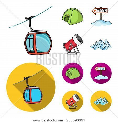 Funicular, Tent, Road Sign, Snow Cannon. Ski Resort Set Collection Icons In Cartoon, Flat Style Vect