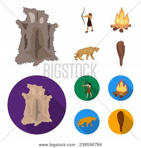 Man, Hunter, Onion, Bonfire .stone Age Set Collection Icons In Cartoon, Flat Style Vector Symbol Sto