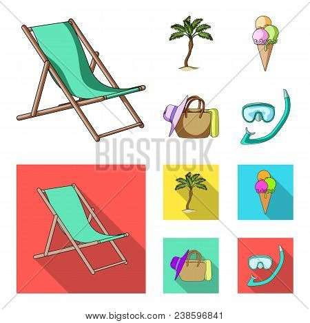 Beach, Palm Tree, Ice Cream.summer Vacation Set Collection Icons In Cartoon, Flat Style Vector Symbo