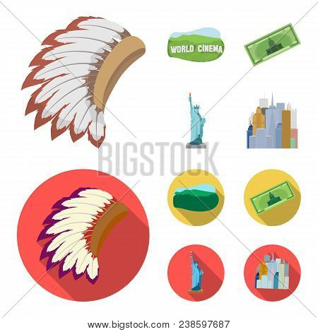 Mohavk, World Cinema, Dollar, A Statue Of Liberty.usa Country Set Collection Icons In Cartoon, Flat