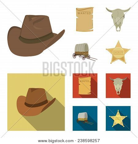 Cowboy Hat, Is Searched, Cart, Bull's Skull. Wild West Set Collection Icons In Cartoon,flat Style Ve