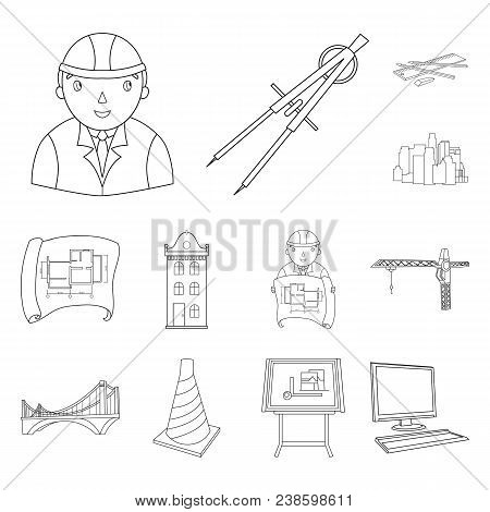 Architecture And Construction Outline Icons In Set Collection For Design. Architect And Equipment Ve