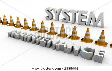 System Maintenance and Downtime with Traffic Cone