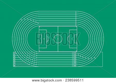 Running Track Stadium Competition Sport Concept Thin Line. Vector Illustration Of Arena Field Racetr