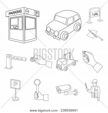 Parking For Cars Outline Icons In Set Collection For Design. Equipment And Service Vector Symbol Sto