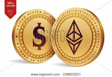 Ethereum. Dollar Coin. 3d Isometric Physical Coins. Digital Currency. Cryptocurrency. Golden Coins W