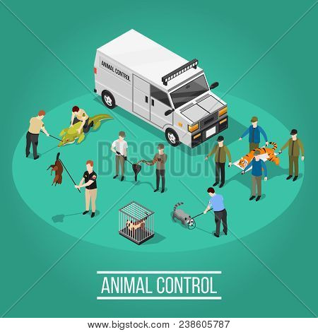Wild Animal Control Design Concept With People Figurines Used In Quantitative Control Catching And M