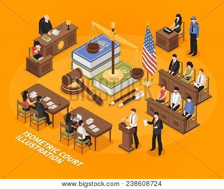 Court Hearing Isometric Vector Illustration With American Flag Justice Symbols Jury Court Victim Adv