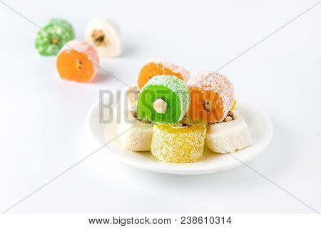 Variety of Turkish Delight Lokum Sweet Turkish delight lokum Traditional dessert White background poster