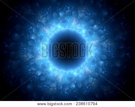 Blue Glowing Magical Stargate In Space With Hexagonal Patterns, Computer Generated Abstract Backgrou