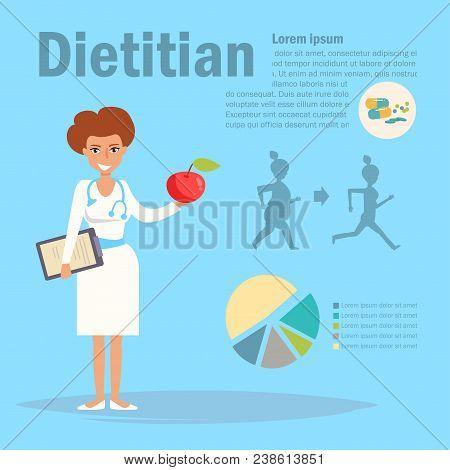 Dietitian Vector. Cartoon. Isolated Art On Blue Background. Flat