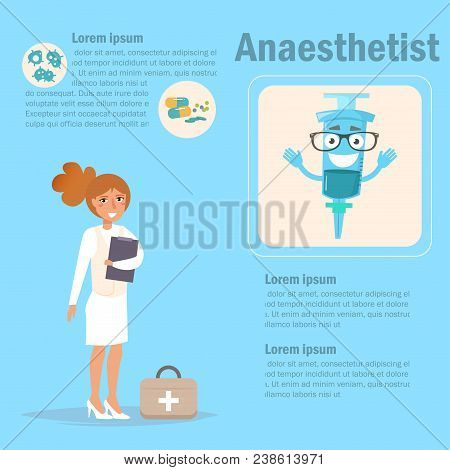 Doctor Anaesthetist Vector. Cartoon. Isolated Art On Blue Background. Flat