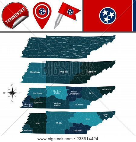 Vector Map Of Tennessee With Named Regions And Travel Icons