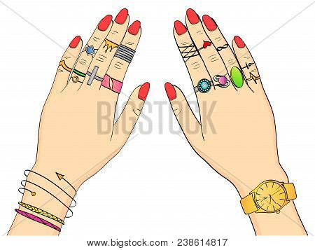 Isolated Object On White Background Colored Vector Illustration. Hands Of Women In Fashion Jewelry,