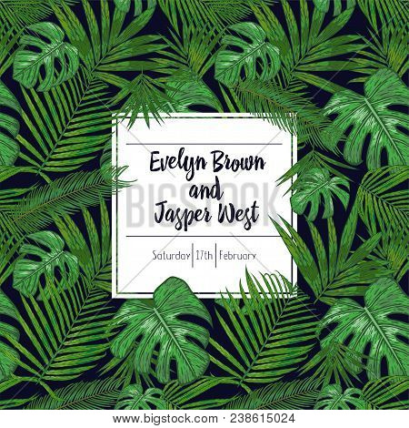 Wedding Marriage Event Invitation Card Template. Exotic Tropical Jungle Rainforest Bright Green Palm