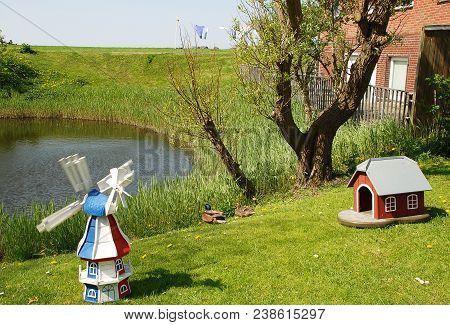 Garden Scene On The Warft On The Hallig Hooge In North Friesland