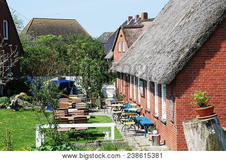 Dwellings On The Warft On The Hallig Hooge In North Friesland