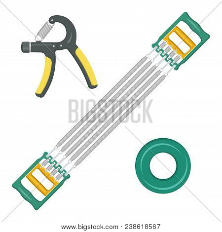 A Set Of Sports Expanders For Hands And A Breast. Vector Elements Of Design On The Isolated White Ba