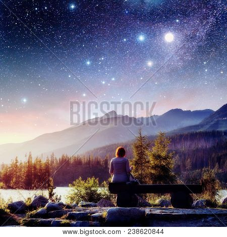 Lake Strbske Pleso In High Tatras Mountain, Slovakia, Europe. Fantastic Starry Sky And The Milky Way