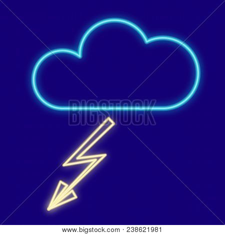 Weather. Cloud And Lightning. Icons With Neon Glow Effect. Neon Light. Vector Image. Design Element,