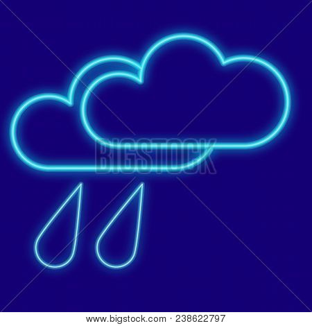 Weather. Clouds, Drops, Rain. Icons With Neon Glow Effect. Neon Light. Vector Image Design Element I