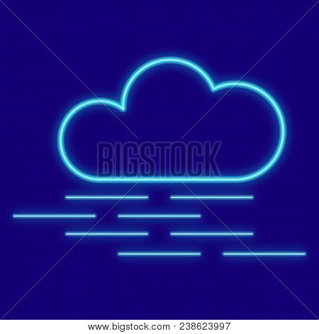 Weather. Clouds, Fog. Icons With Neon Glow Effect. Neon Light. Vector Image. Design Element Interfac