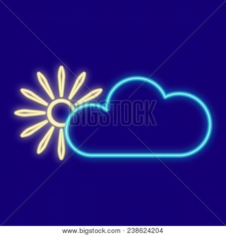 Weather. Clouds, Sun. Icons With Neon Glow Effect. Neon Light. Vector Image. Design Element Interfac