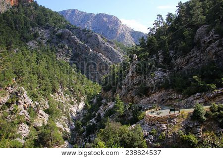 Majestic, High Mountains, Grayish White, With The Presence Of Vegetation, Mostly Conifers, Gorge, Sk