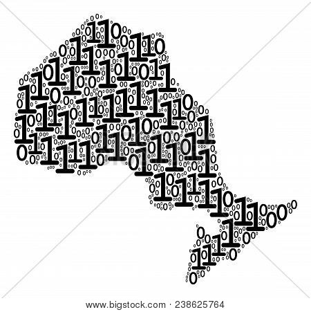 Ontario Province Map Mosaic Icon Of Binary Digits In Variable Sizes. Vector Digit Are Grouped Into O