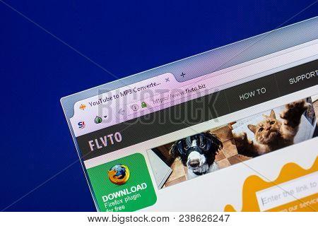 Ryazan, Russia - April 29, 2018: Homepage Of Flvto Website On The Display Of Pc, Url - Flvto.biz.