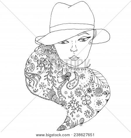 Vector Uncolored Girl Portrait. Cute Girl Wearing Hat With Doodle Hairs.