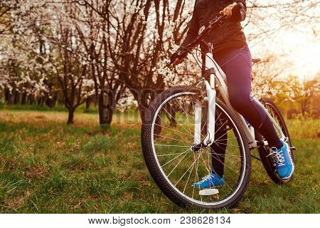 Young Woman In Sportswear Riding Bicycle In Spring Forest In The Morning. Close-up Of Bike Wheel. He