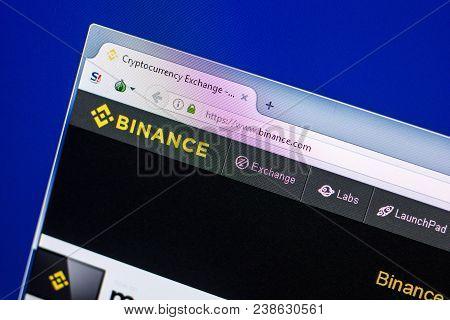 Ryazan, Russia - April 29, 2018: Homepage Of Binance Website On The Display Of Pc, Url - Binance.com