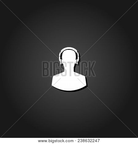 Meloman Icon Flat. Simple White Pictogram On Black Background With Shadow. Vector Illustration Symbo