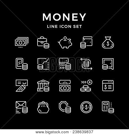 Set Line Icons Of Money Isolated On Black. Vector Illustration