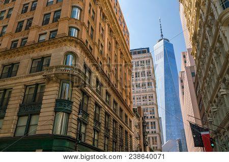New York City Manhattan Skyline  At Downtown