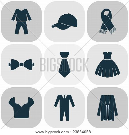Garment Icons Set With Pajamas, Bow Tie, Suit And Other Jacket Elements. Isolated  Illustration Garm