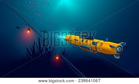 Autonomous Underwater Drone Or Robot With Camera Exploration Seabed. Seabed Underwater And Rays Of S