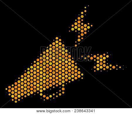 Halftone Hexagonal Alert Megaphone Icon. Bright Yellow Pictogram With Honeycomb Geometric Pattern On