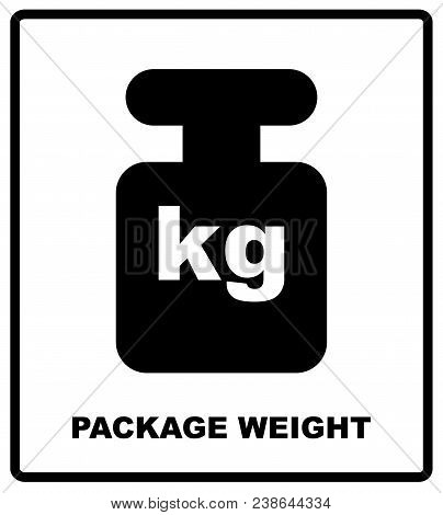 Package Weight Packaging Symbol On A Corrugated Cardboard Background. For Use On Cardboard Boxes, Pa