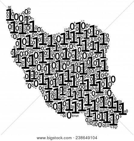 Iran Map Composition Icon Of Binary Digits In Different Sizes. Vector Digits Are Grouped Into Iran M