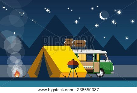 Car With A Tent And Bonfire In The Evening In A Flat Style. Camping With Camping Tent. Vector Illust