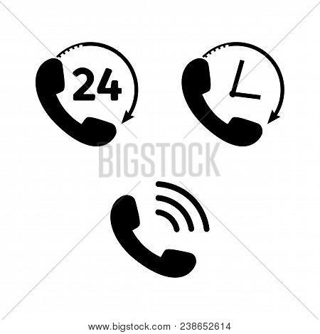 Phone Icon Set In Flat Style. Telephone Symbols Isolated On White Background. Handset Icon For Logo