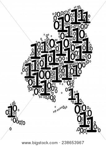 Veraguas Province Map Mosaic Icon Of Zero And Null Digits In Variable Sizes. Vector Digital Symbols
