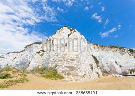 Vieste, Italy, Europe - Impressive Chalk Cliffs At The Beach Of Vieste